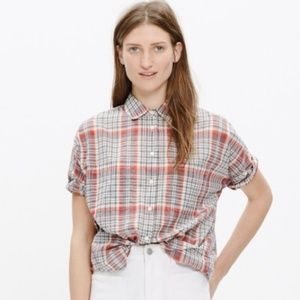 Madewell Courier Red Kerchief Plaid Dad Shirt
